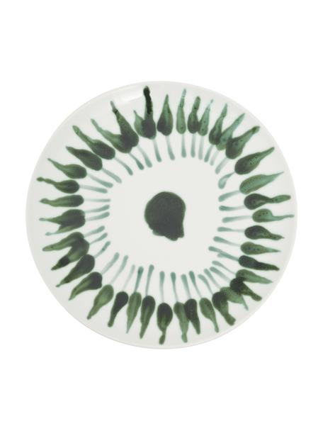 Plato llano artesanal Fire, Gres, Blanco, verde, Ø 28 cm