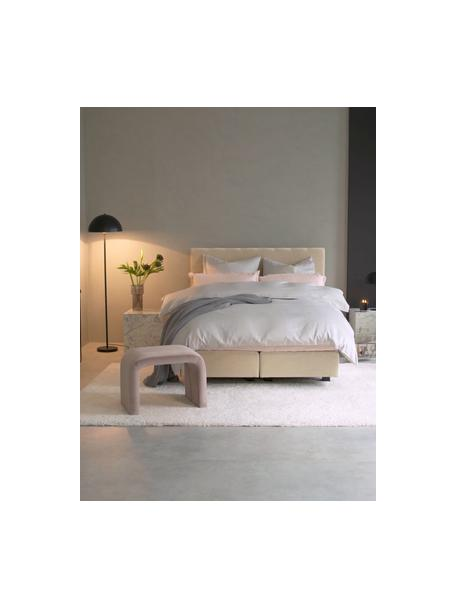 Premium boxspring bed Lacey in beige, Matras: 7-zones-pocketverenkern m, Poten: massief gelakt beukenhout, Geweven stof beige, 140 x 200 cm