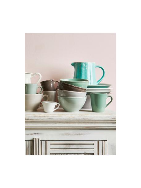 Tazas de café Constance, 2uds., estilo rústico, Cerámica, Verde salvia, Ø 8 x Al 6 cm