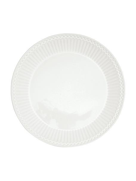 Handgemaakte ontbijtborden Alice in wit met reliëfdesign, 2 stuks, Porselein, Wit, Ø 23 cm