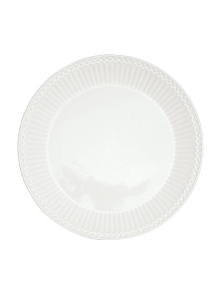 Handgemachte Frühstücksteller Alice in Weiß mit Reliefdesign, 2 Stück, Steingut, Weiß, Ø 23 cm