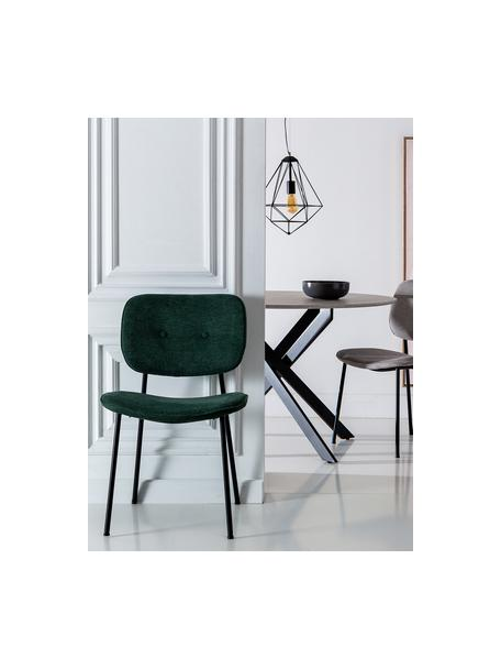 Sedia imbottita Oprah, Rivestimento: 100% poliestere, Gambe: metallo rivestito, Verde, nero, Larg. 56 x Prof. 52 cm