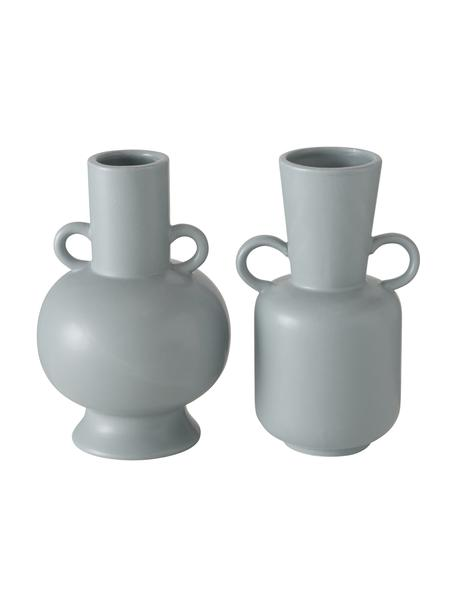 Komplet wazonów z kamionki Danjin, 2 elem., Kamionka, Szary, Komplet z różnymi rozmiarami