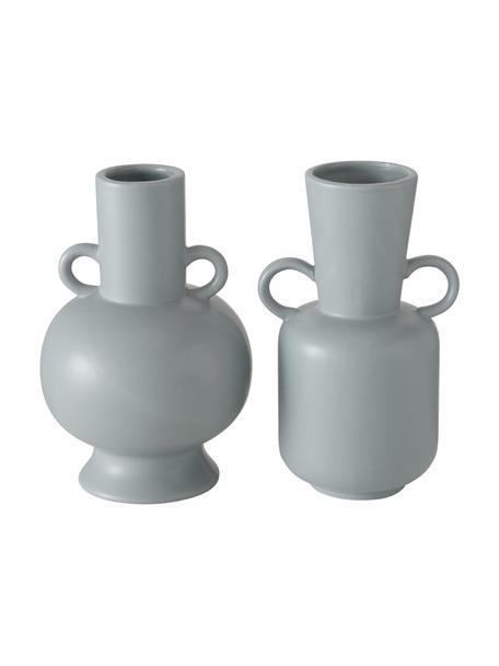 Set de jarrones de gres Danjin, 2pzas., Gres, Gris, Set de diferentes tamaños