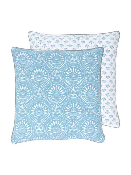 Dwustronna poszewka na poduszkę z bawełny organicznej Tiara, 100% bawełna organiczna, certyfikat GOTS, Niebieski, biały, S 45 x D 45 cm
