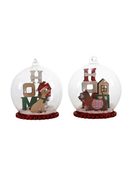 Bolas de nieve Chrismas Dogs, 2uds., Adornos: vidrio, madera, espuma de, Multicolor, Ø 8 x Al 11 cm