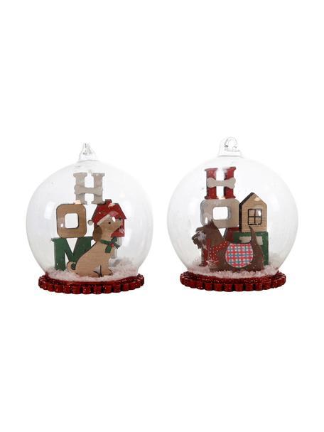 Glaskugeln-Set Christmas Dogs Ø 8 cm, 2 Stück, Mehrfarbig, Ø 8 x H 11 cm
