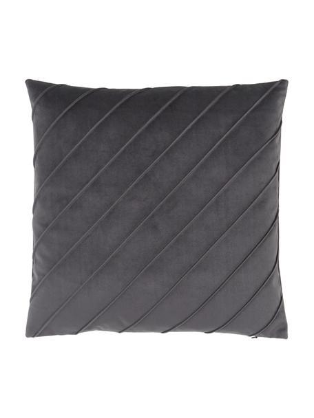 Federa arredo in velluto grigio scuro con motivo Leyla, Velluto (100% poliestere), Grigio, Larg. 40 x Lung. 40 cm