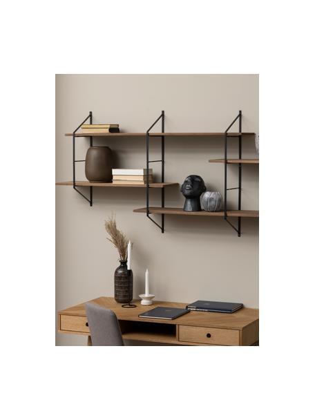Grote wandrek Belfast met metalen frame, Plank: paulowniahout, gebeitst, , Frame: gepoedercoat metaal, Bruin, zwart, 191 x 79 cm