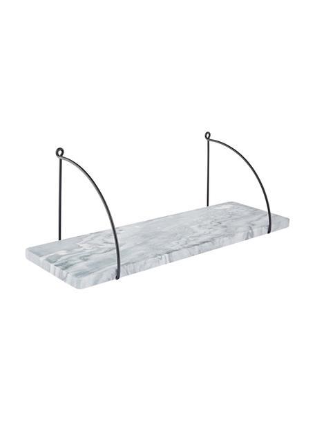 Marmeren wandplank Porter, Plank: marmer, Wandbevestiging: zwart. Plank: gemarmerd grijs, 60 x 24 cm
