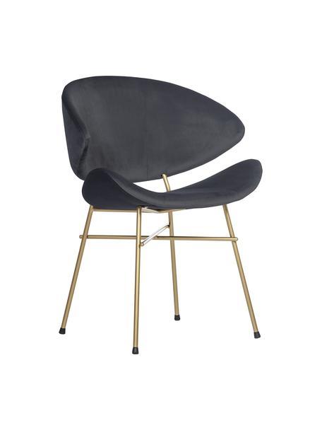 Sedia imbottita in velluto idrorepellente grigio scuro Cheri, Rivestimento: 100% poliestere (velluto), Grigio scuro, ottone, Larg. 57 x Prof. 55 cm