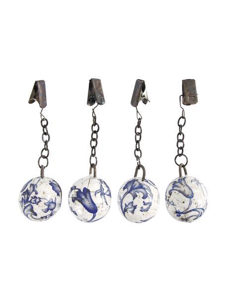 Tafelkleedgewichtenset Evie, 4-delig, Keramiek, Blauw, wit, metaal, Ø 3 x H 11 cm