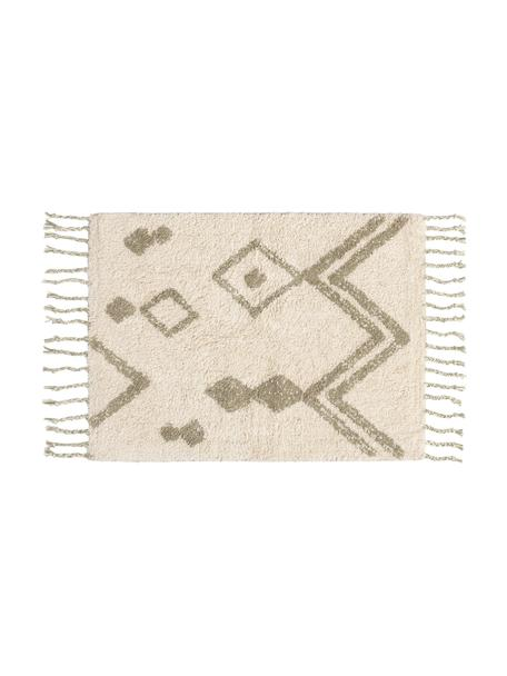 Badmat Fauve met boho patroon en kwastjes in crèmekleur/beige, 100% katoen, Crèmekleurig, beige, 50 x 70 cm