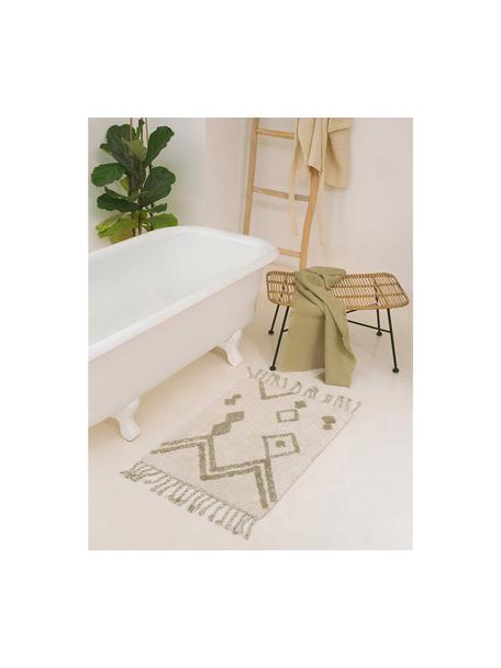 Alfombrilla de baño con borlas Fauve, estilo boho, 100%algodón, Crema, beige, An 50 x L 70 cm