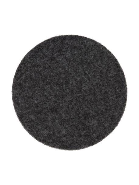 Posavasos de fieltro Leandra, 6uds., 90%lana, 10%polietileno, Gris antracita, Ø 10 cm