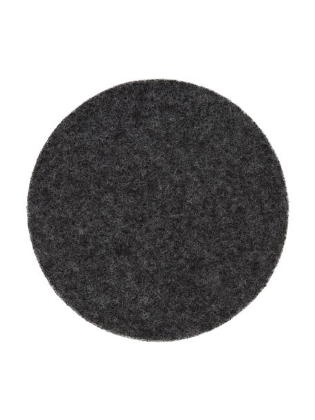 Sottobicchiere in feltro di lana Leandra 6 pz, 90% lana, 10% polietilene, Antracite, Ø 10 cm