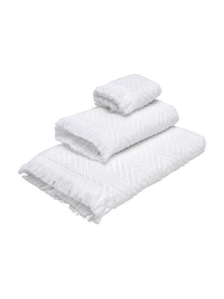 Handdoekenset Jacqui, 3-delig, 100% katoen, middelzware kwaliteit, 490 g/m², Wit, Set met verschillende formaten