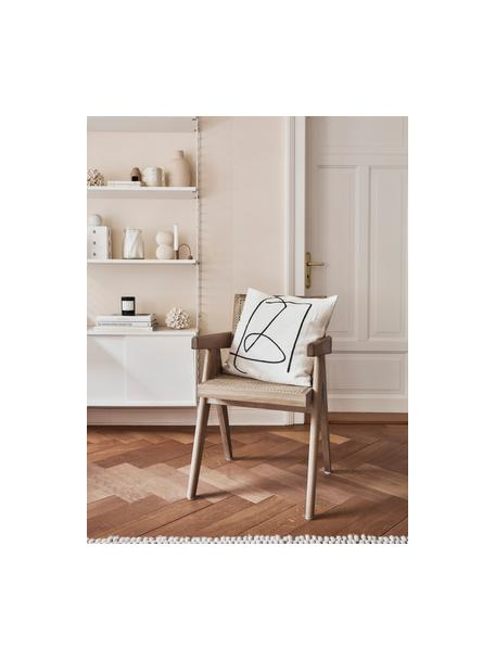 Silla con reposabrazos Sissi, Estructura: madera de roble maciza, Asiento: ratán, Beige, An 52 x F 58 cm