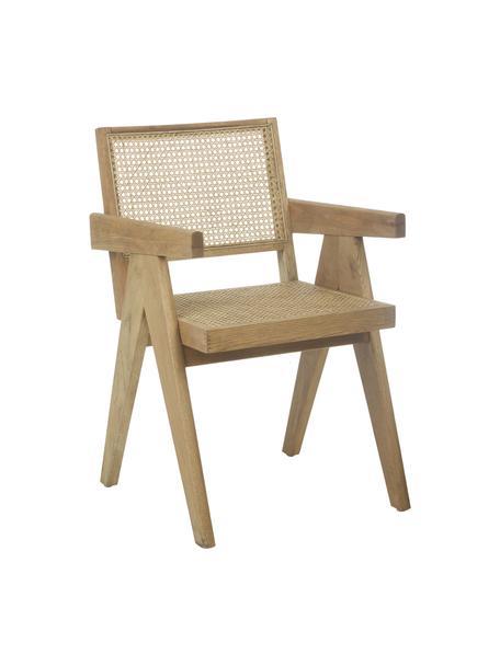 Silla con reposabrazos Sissi, Estructura: madera de roble maciza, Asiento: ratán, Roble, An 52 x F 58 cm