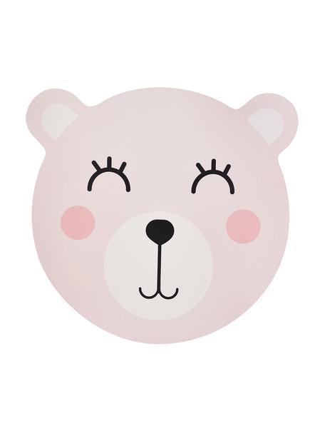 Placemat Bear, Kunststof, Roze, wit, zwart, 37 x 37 cm