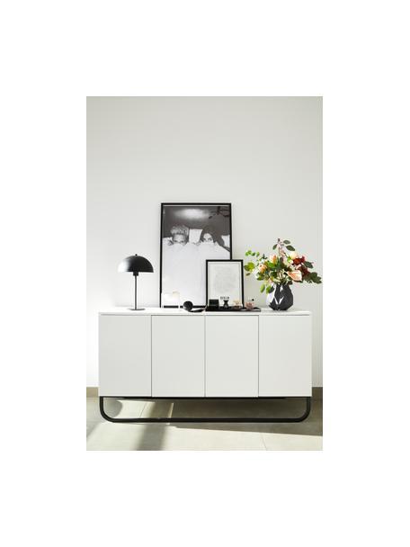Klassisches Sideboard Sanford in Weiss mit Türen, Korpus: Mitteldichte Holzfaserpla, Weiss, Schwarz, 160 x 83 cm