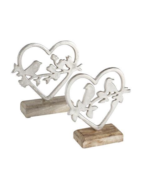 Set de figuras decorativas artesanales Loana, 2pzas., Figura: metal, Plateado, madera de mango, An 15 x Al 18 cm