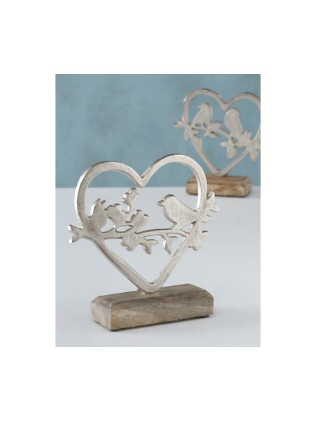 Set 2 oggetti decorativi fatti a mano Loana, Argentato, legno di mango, Larg. 15 x Alt. 18 cm
