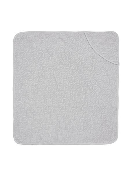 Asciugamano per bambini in cotone organico Wave Fluff, 100% cotone organico, Grigio, Larg. 105 x Lung. 105 cm