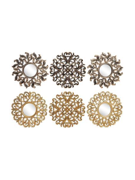 Set de decoración de pared Viktoria, 6pzas., Polipropileno Espejo de cristal, Dorado, negro, Ø 35 cm