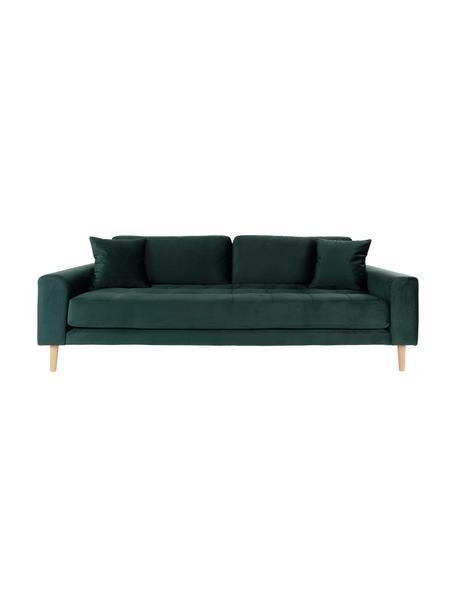 Sofa z aksamitu Lido (3-osobowa), Tapicerka: aksamit poliestrowy 3000, Nogi: drewno jodłowe, Ciemny zielony, S 210 x G 93 cm