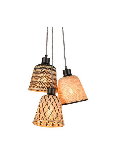 Lampada a sospensione in bambù Kalimantan, Paralume: bambù, Baldacchino: metallo rivestito, Beige, nero, Ø 17 x Alt. 16 cm