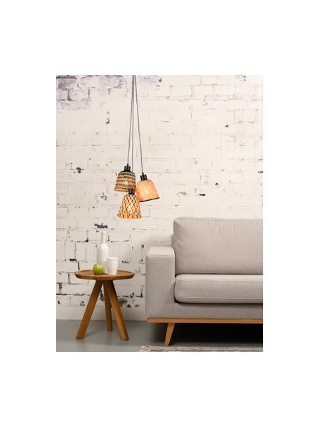Lámpara de techo pequeña de bambú Kalimantan, Pantalla: bambú, Anclaje: metal recubierto, Cable: cubierto en tela, Beige, negro, Ø 17 x Al 16 cm