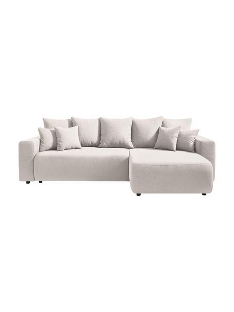 Sofá cama rinconero modular Elvi, con espacio de almacenamiento, Tapizado: poliéster, Patas: plástico, Beige, An 282 x F 153 cm