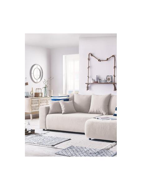 Sofá cama rinconero Elvi, con espacio de almacenamiento, Tapizado: poliéster con revestimien, Patas: plástico, Beige, An 282 x F 153 cm
