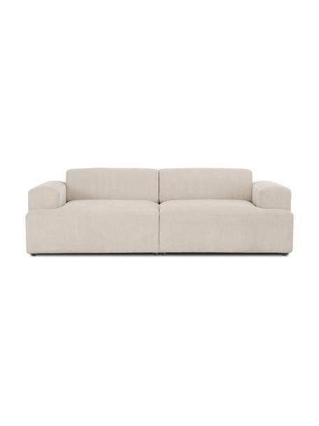 Sofá de pana Melva (3plazas), Tapizado: pana (92%poliéster, 8%p, Estructura: madera de pino maciza, ce, Patas: plástico, Pana beige, An 238 x F 101 cm