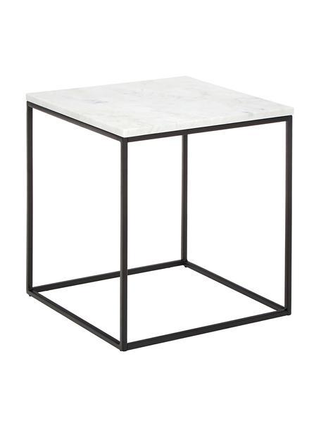 Marmor-Beistelltisch Alys, Tischplatte: Marmor, Gestell: Metall, pulverbeschichtet, Tischplatte: Weiss-grauer Marmor Gestell: Schwarz, matt, 45 x 50 cm