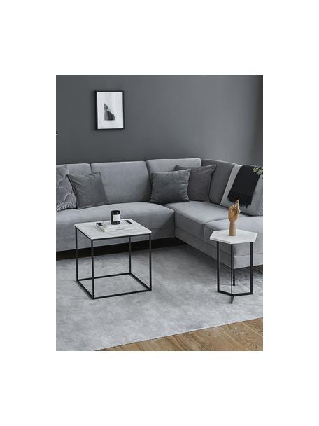 Marmor-Beistelltisch Alys, Tischplatte: Marmor, Gestell: Metall, pulverbeschichtet, Weisser Marmor, Schwarz, 45 x 50 cm