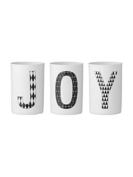 Portavelas Joy, 3uds., Porcelana, Blanco, negro, Al 10 cm
