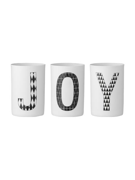 Set 3 portalumini Joy, Porcellana, Bianco, nero, Alt. 10 cm
