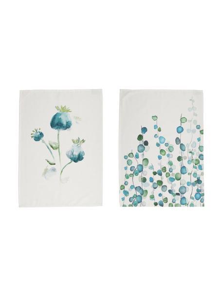 Theedoeken Campagne, 2 stuks, 100% katoen, Wit, blauwtinten, 50 x 70 cm