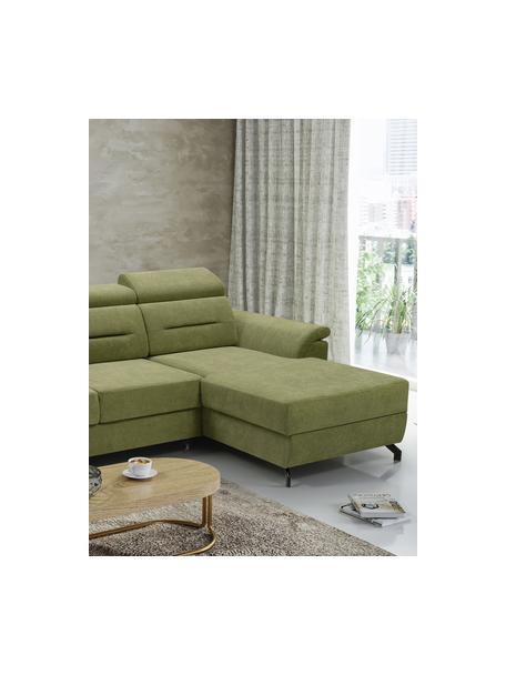 Sofá cama rinconero Missouri, con espacio de almacenamiento, Tapizado: 100%poliéster, Verde, An 259 x F 164 cm