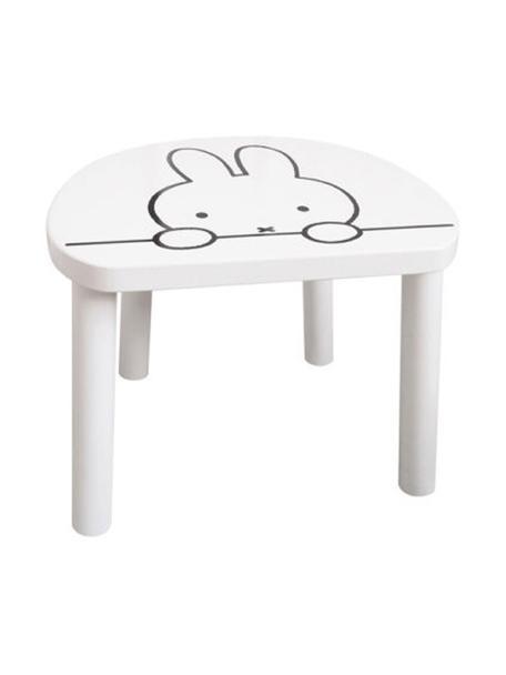 Holz-Kinderhocker Miffy, Sitzfläche: Mitteldichte Holzfaserpla, Beine: Kiefernholz, Weiß, Schwarz, 32 x 25 cm