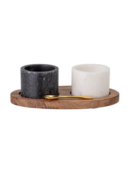 Set vasetti in marmo Florio 4 pz, Vassoio: legno di acacia, Cucchiaio: ottone, Nero, bianco, Larg. 10 x Alt. 6 cm
