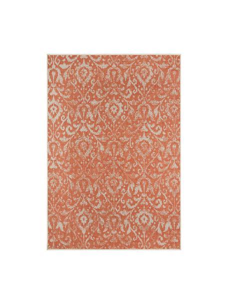 Tappeto vintage da interno-esterno Hatta, Polipropilene, Rosso arancia, beige, Larg. 70 x Lung. 140 cm (taglia XS)