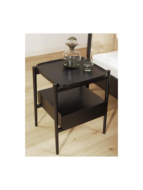 Mesilla de noche de roble Libby, Estante: chapa de roble con tabler, Negro, An 49 x Al 60 cm