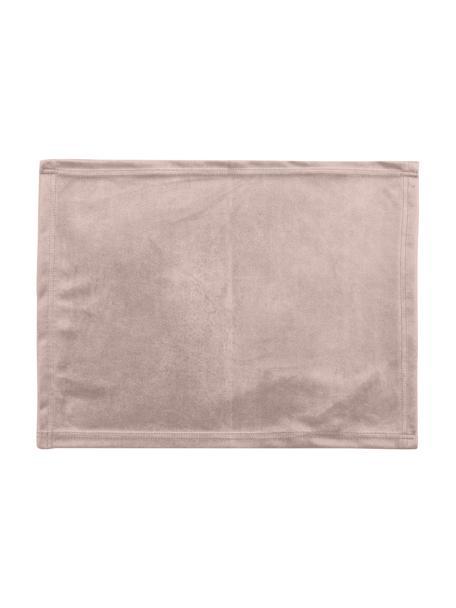 Samt-Tischsets Simone in Rosa, 2 Stück, 100% Polyestersamt, Rosa, 35 x 45 cm