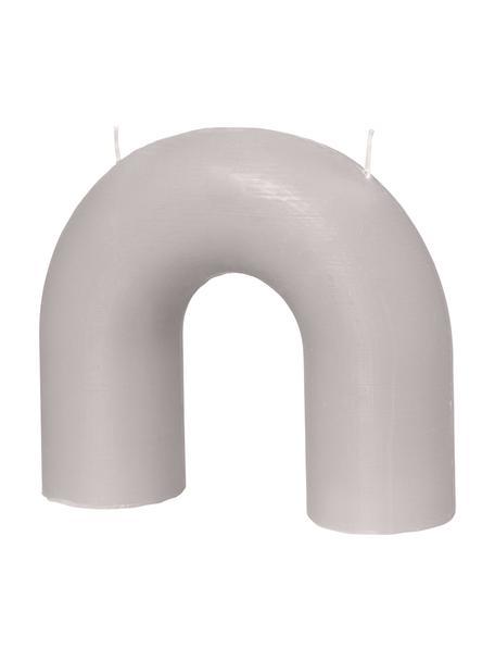 Zweidochtkerze Bend, Wachs, Grau, 17 x 15 cm