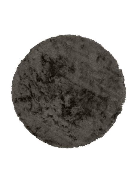 Glanzend hoogpolig vloerkleed Jimmy in donkergrijs, rond, Bovenzijde: 100% polyester, Onderzijde: 100% katoen, Donkergrijs, Ø 120 cm (maat S)