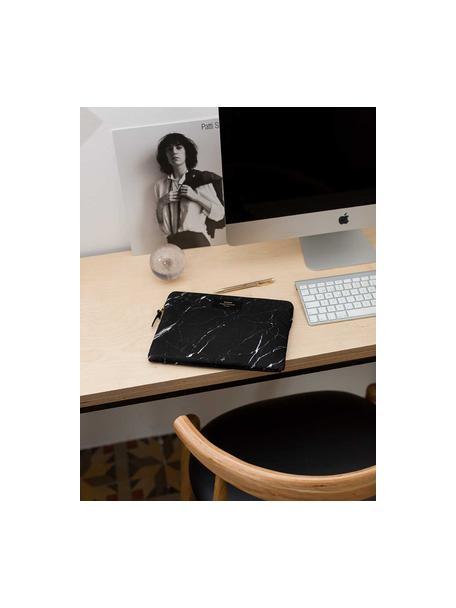 Custodia per MacBook Pro 13 pollici Black Marble, Laptop case: nero, marmo Sovrastampa: nero con carattere dorato, Larg. 34 x Alt. 25 cm
