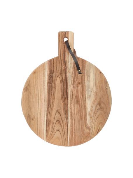 Schneidebrett Acacia aus Akazienholz mit Lederband, verschiedene Grössen, Schlaufe: Leder, Akazienholz, Ø 33 cm